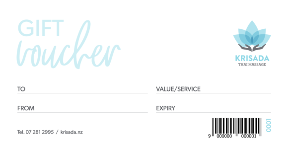 gift vouchers, Krisada Thai Massage Salons, Mount Maunganui, Te Puke, The Bay of Plenty
